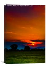 Sun set over Ludham., Canvas Print
