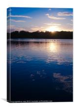 sunset over whitlingham lake., Canvas Print