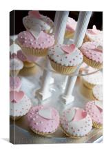 Pink and White Cup Cakes, Canvas Print