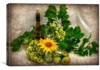 vino and flowers x, Canvas Print