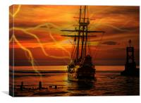 ghost ship in a storm, Canvas Print