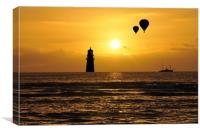 silhouettes in the sunset , Canvas Print