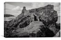 The wonderfully isolated Dunscaith Castle on Skye, Canvas Print