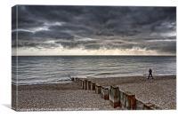 Fishing Brighton shoreline, Canvas Print
