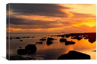 sunset and rocks, Canvas Print