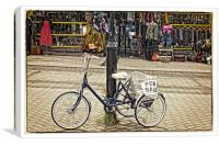 Mr Bens and the bike, Canvas Print