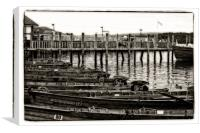 rowing boats on the pier, Canvas Print