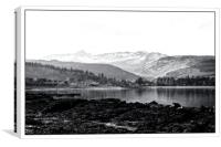 Brodick bay,Arran in mono, Canvas Print