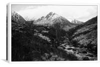 Glen Rosa black and white, Arran,Scotland, Canvas Print