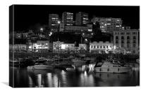Torquay Harbour In Black & White, Canvas Print