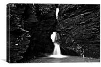 St Nectans Glen Waterfall Mono, Canvas Print
