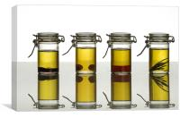 aromatic olive oils over white, Canvas Print