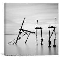 Destroyed Fishing hut, Marsilly, France, Canvas Print