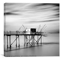 Fishing hut, Marsilly, France, Canvas Print