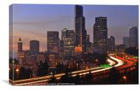 Seattle by Night, Canvas Print
