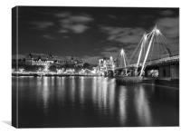 Hungerford Bridge London Black & White, Canvas Print
