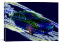 Neon Subaru Impreza WRX STI, Canvas Print