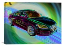 Neon Audi TT Quattro, Canvas Print
