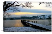 Snowy Coniston Water Jetty, Canvas Print