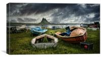 Boats at Lindisfarne, Canvas Print
