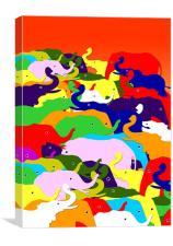 Painted Elephants, Canvas Print