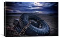 Tyred on the Beach, Canvas Print