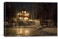 Winter at the Cottage, Canvas Print