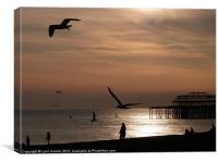 Sunset Brighton Beach March 2012, Canvas Print