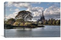 Stowe Pool and Lichfield Cathedral, Canvas Print