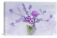 Spring Flowers in a Jam Jar, Canvas Print
