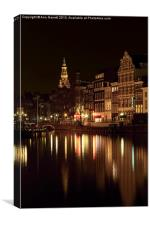 Amsterdam at Night, Canvas Print