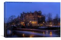 Amsterdam Corner Cafe with Light Trails, Canvas Print