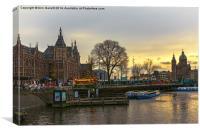 Centraal Station and St. Nicholas Church Amsterdam, Canvas Print