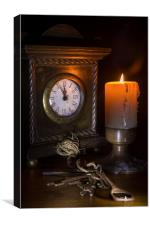 Clock, Candle and Old Keys, Canvas Print