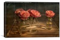 Milk Bottle Roses, Canvas Print