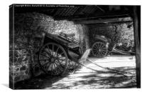Old Barn and Horse Carriages Monochrome, Canvas Print