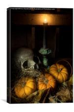 Skull and Pumpkins, Canvas Print