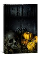 Skull Headstone and Pumpkins, Canvas Print