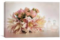 Posy and Perfume Bottles, Canvas Print
