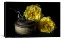 Two Yellow Roses and a Reel of String, Canvas Print
