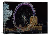 PSYCHEDELIC LONDON EYE, Canvas Print