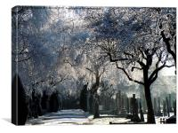 FROSTY CEMETRY, Canvas Print