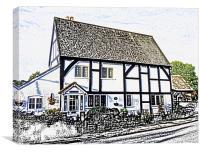 COUNTRY COTTAGE SKETCH, Canvas Print