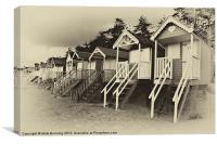 Wells beach huts in sepia, Canvas Print
