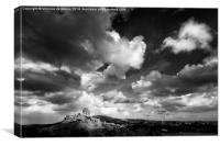 Cloudy day over Corfe Castle, Canvas Print