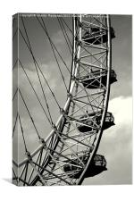 london eye in black and white, Canvas Print