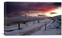 Winter Sunset West Mill and Yes Tor, Canvas Print