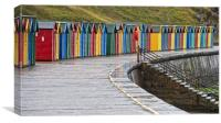 Deserted Beach Huts at Whitby, Canvas Print
