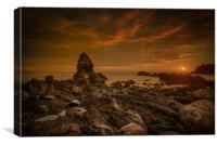 Porth Saint Beach at Sunset., Canvas Print