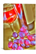 Red wine and grapes, Canvas Print